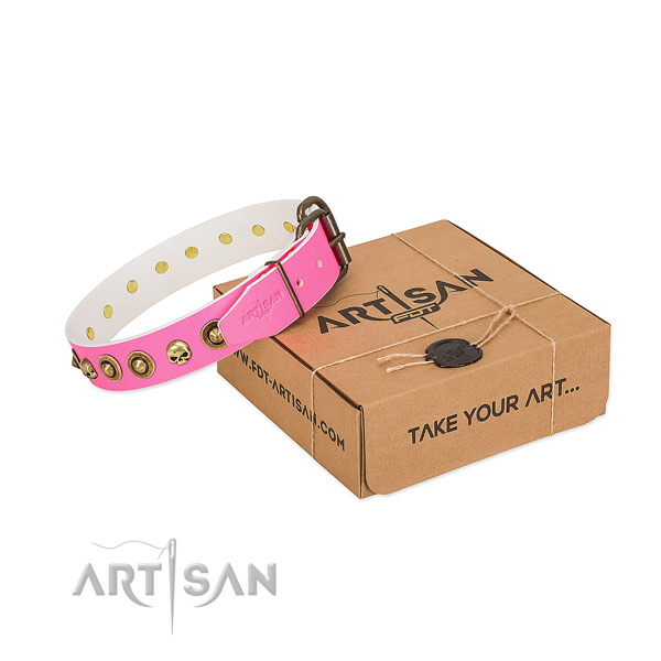Full grain natural leather collar with trendy studs for your four-legged friend