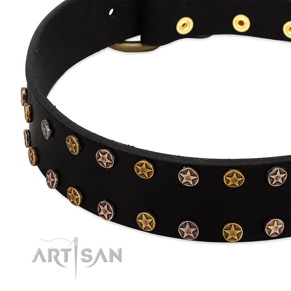 Exquisite decorations on full grain leather collar for your pet