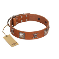 """Amorous Escapade"" Embellished FDT Artisan Tan Leather Rottweiler Collar with Chrome Plated Crossbones and Plates"