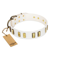 """Glorious Light"" FDT Artisan White Leather Rottweiler Collar with Old Bronze-like Plates"