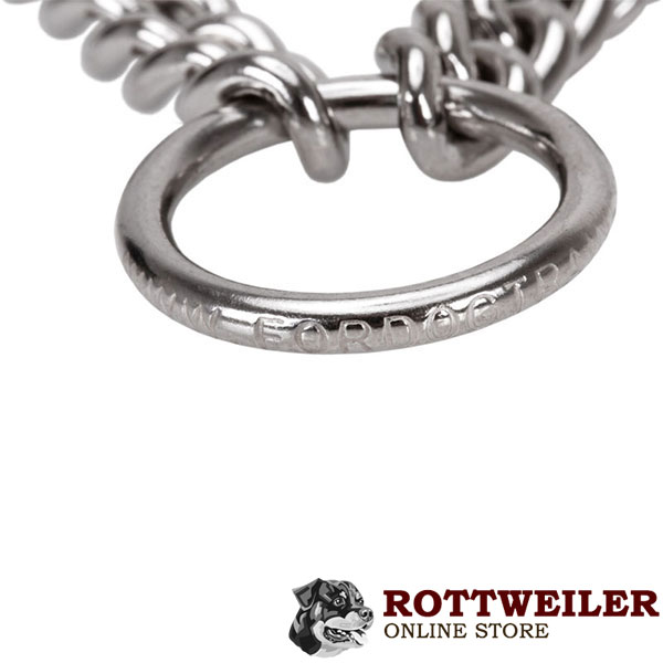 Reliable stainless steel prong collar with O-ring