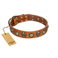 """Golden Epoch"" FDT Artisan Tan Leather Rottweiler Collar with Old Bronze-plated Medallions and Conchos"