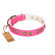 """Bright Delight"" Pink FDT Artisan Leather Rottweiler Collar with Large Old Bronze-like Plated Studs"