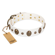 """Magic Bullet"" FDT Artisan White Leather Rottweiler Collar with Studs and Skulls"