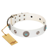 """Lush Life"" Designer Handcrafted FDT Artisan White Leather Rottweiler Collar with Blue Stones"
