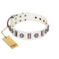 """Icy Spike"" Designer FDT Artisan White Leather Rottweiler Collar with Silver-Like Decorations"