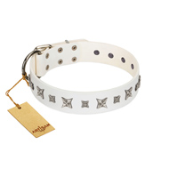 """Fashion Star"" FDT Artisan White Leather Rottweiler Collar with Silver-Like Engraved Plates and Stars"