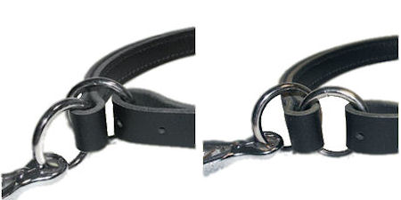 Adjustable Leather Slip Collar with  NICKEL plated hardware for Rottweiler