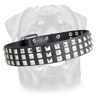 3 Rows Studded Leather Dog Collar for Rottweiler