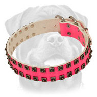 Original Design Pink Leather Dog Collar with Silver-Like Pyramids